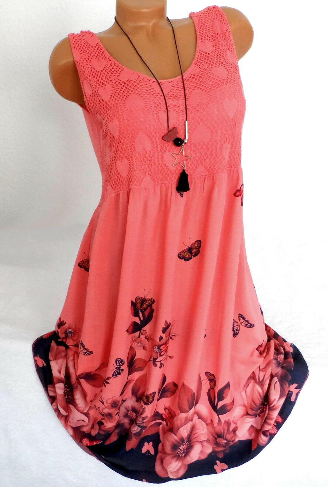 Damenkleid Sommerkleid Häkelspitze Floriert Tunikakleid Knielang Coral 40 42  44