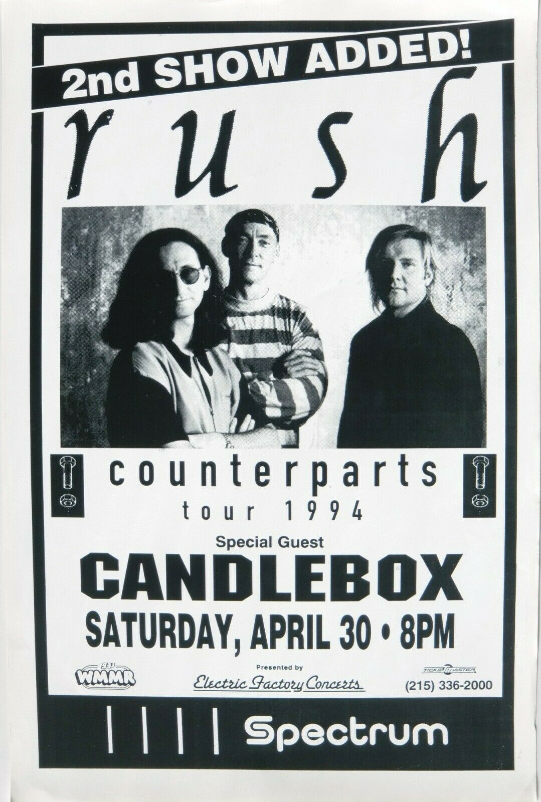 RUSH COUNTERPARTS TOUR 1994 PHILADELPHIA CONCERT POSTER - Live At The Spectrum - $13.99