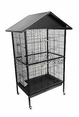 Bird Cage Budgies Parrotlet Cockatiel Flight Cage Medium Metal A26 Black