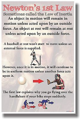 Newton's 1st Law - New Classroom Physics Science Poster