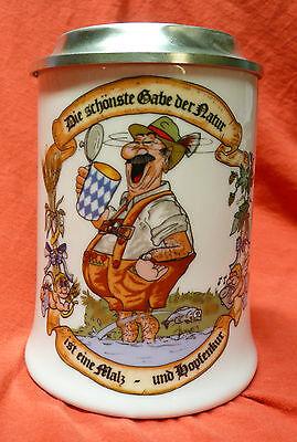 Porzelankrug Bierkrug Malz & Hopfen Kur Zinndeckel  Krug Deckel Zinn Gravur