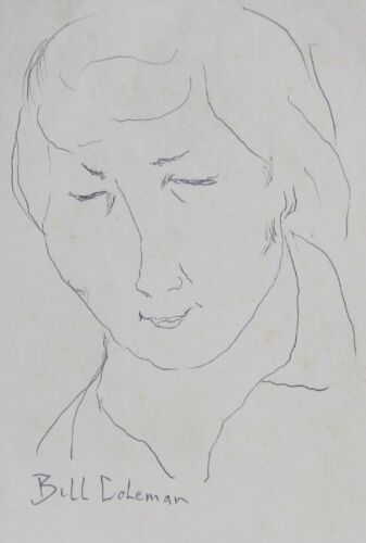 BILL+COLEMAN+AUSTRALIAN+SIGNED+PENCIL+%22PORTRAIT+LADY+WITH+EYES+CLOSED%22+C+1970