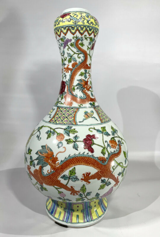 Antique Doucai Famille Rose Late Qing Dynasty Dragon Vase 19th to 20th Century