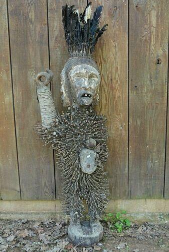Huge Rare Antique African Bakongo Nkisi Nkondi Statue Nail Fetish Congo, Africa