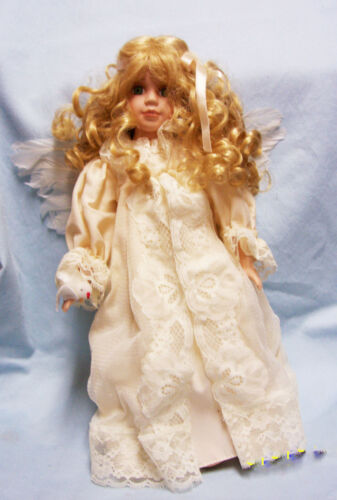 """DOLL COLLECTIBLE Porcelain 16"""" Angel Doll Blonde Hair Green Eyes Feather Wings"""