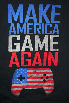 Donald Trump Spoof Video Parody Make America Game Again Black T-Shirt New Sz Med