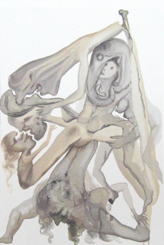 Salvador Dali The Divine Comedy Inferno #4 Woodblock Art Print Make Offer