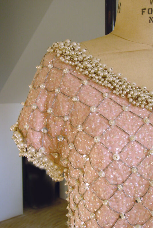 STUNNING!! Hand-Beaded Light Pink Vintage Sweater- Wedding, Pearls Sequins Beads