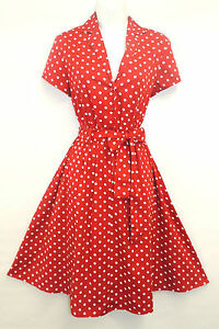 White Polka  Dress on New Red Polka Dot Wwii 1940   S Vintage Style Classic Shirt Swing Tea