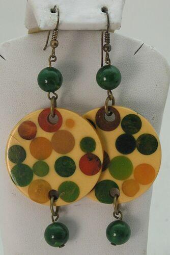 Vintage Bakelite Catalin Disk Dangle Earrings w/ Random Multi Color Polka Dots