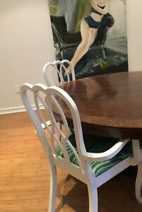 Vintage white dining chairs with green marble fabric