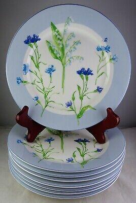 Set Of 8 Laura Ashley Cornflower Salad Dessert Plates - Blue Flowers & Trim