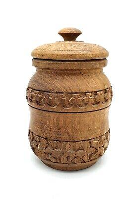 Beautiful vintage Indian carved wooden spice jar, 1950/60's - Lovely lidded jar.