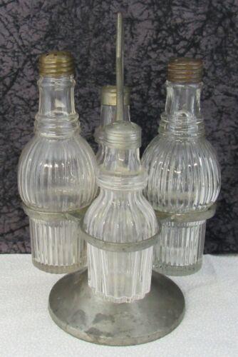 Antique Boston & Sandwich GI-9 Blown Mold Glass Castor Condiment Set