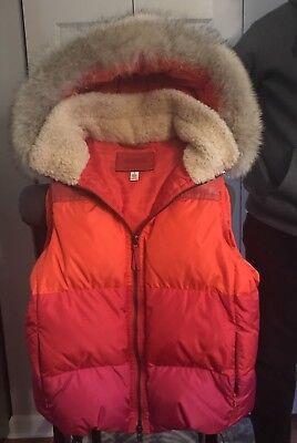 COACH Quilt Down VEST Jacket w Detachable Coyote Fur HOOD Trim 83132 NEW $498 - Detachable Fur Trim Hood Jacket