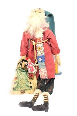 Primitive Handmade Santa Claus Pink Jacket Appliqué Quilting -One of a Kind  (Origin Of Santa Claus)