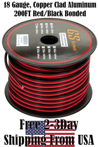18 Gauge Red Black Speaker Wire 12 V Automotive Car Audio Harness Cable 200 FT