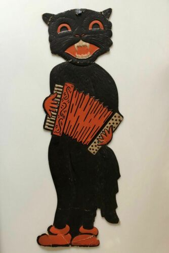 "H.E. LUHRS VINTAGE HALLOWEEN DECORATION EMBOSSED DIE CUT 18"" BLACK ACCORDION CAT"