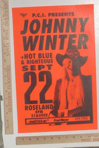 Johnny Winter Concert Poster Roseland Porltand Oregon 1990s