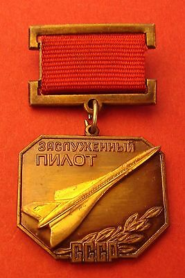 Soviet Badge HONORED Civil Aviation PILOT of USSR Medal Mint Made WEARERS COPY