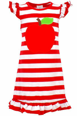 Kids Fashion Girls Back to School Apple Dress Picture 100th Day 2t 3t 4t 5 6 7 8](Kids Back To School Clothes)