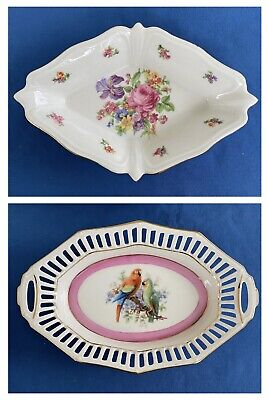 Pair Of German Porcelain Dishes Macaws Parrots Flowers Jewelry Tray Candy Dish