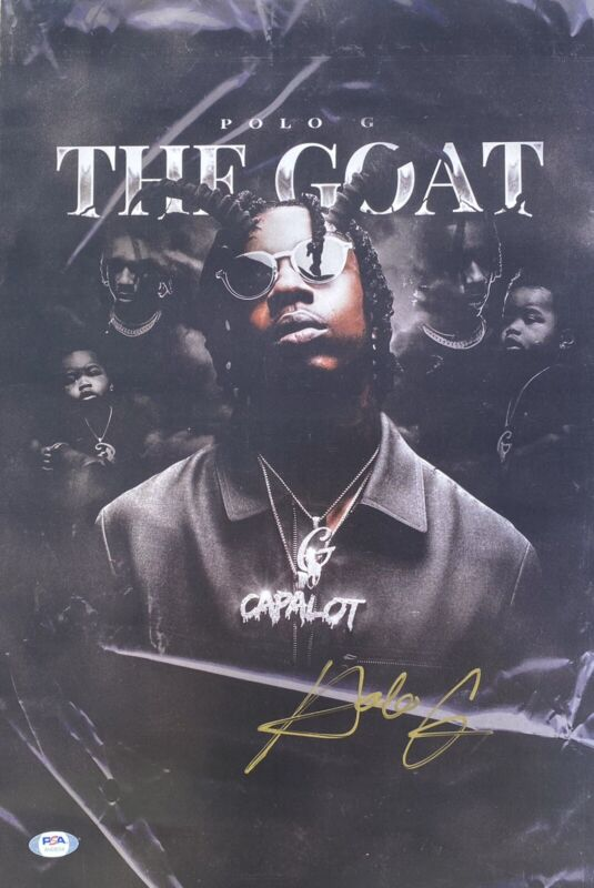 Polo G Signed 12x18 The Goat Poster PSA/DNA G Herbo Chicago Chiraq