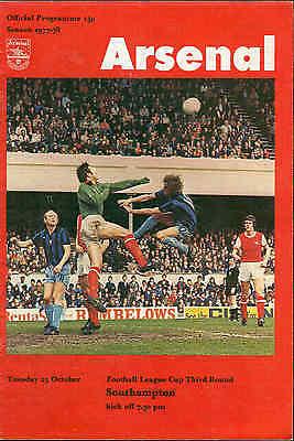 Football Programme - Arsenal v Southampton - League Cup - 25/10/1977