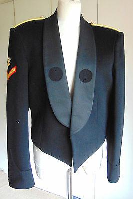 "Vintage Military black mess uniform jacket red trim & lining medal loops 38"""