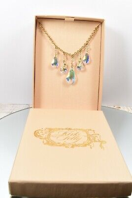 Beautiful Kirks Folly Iridescent Crystal & Gold Tone Dropper Design Necklace