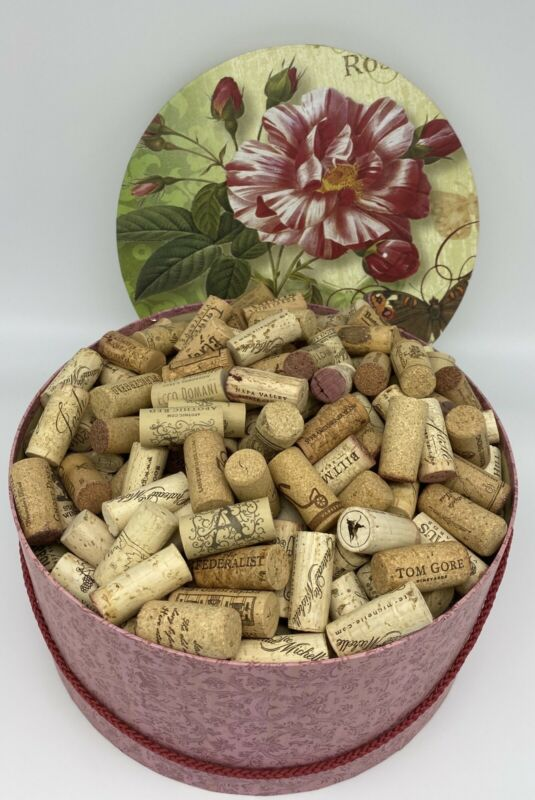 Lot of 400 Wine Corks, Large Hat Box Included No Champagne Corks, Cork Crafts
