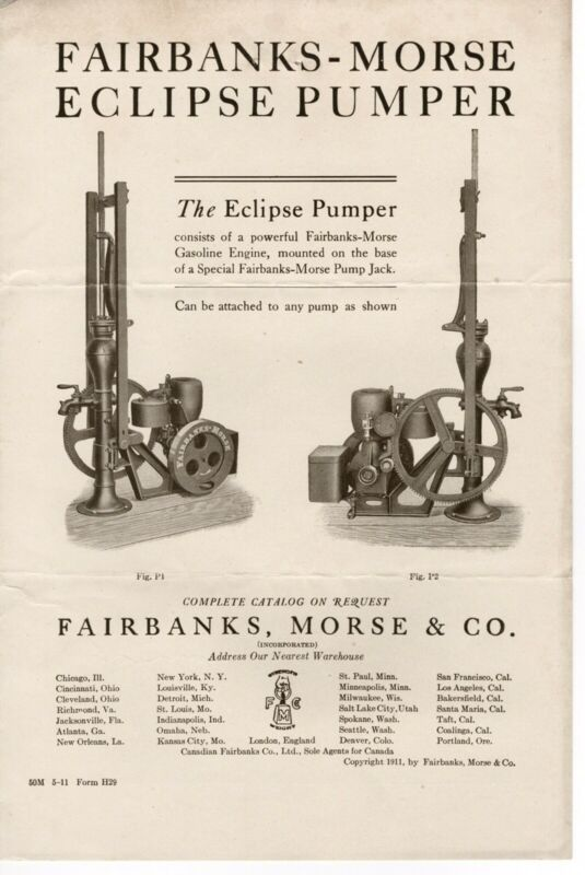 ORIGINAL 1911 FAIRBANKS MORSE ECLIPSE PUMPER BROCHURE GASOLINE ENGINE PUMP JACK