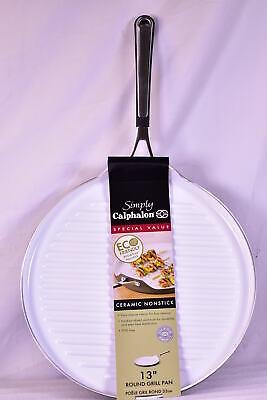 Calphalon Non-Stick Ceramic 13-Inch Round Grill Pan, White/Dark Grey