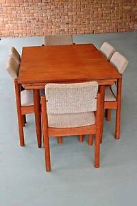 Chiswell teak dining table 1.35 x.900, extends to 2.2 m + 6 chair Basin View Shoalhaven Area Preview