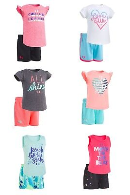 New Under Armour Baby and Toddler Girls Shirt and Shorts Set MSRP $28 $30 $36 (Girl Armor)
