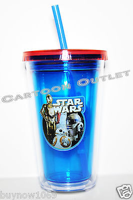 STAR WARS TUMBLER CUP 12 OZ DOUBLE WALL KIDS  WITH STRAW DISNEY BPA FREE TRAVEL ()