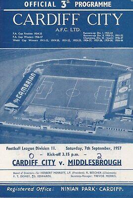 Sep 57 Cardiff City v Middlesbrough