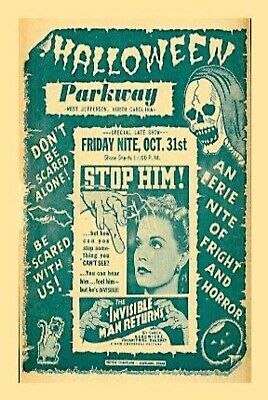 Parkway Drive In West Jefferson, NC Gloss 4x6 Print Vintage Halloween Movies Ad