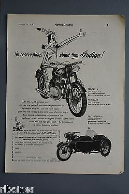R& L Ex-Mag Advert: Indian Motorbike and Sidecar, Model S 250 c.c, Model R