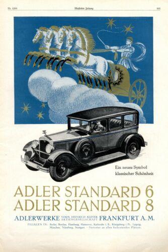 "Adler Automobile Standard 6 and 8 ""Gold"" XL 1928 ad Köhler advertising quadriga"