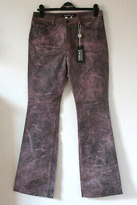 """Versace Jeans Couture Pink Grey Black Leather Trousers BNWT 32"""" Waist 36"""" Leg"""