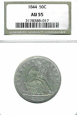 Click now to see the BUY IT NOW Price! 1844 SEATED LIBERTY HALF DOLLAR : NGC AU55