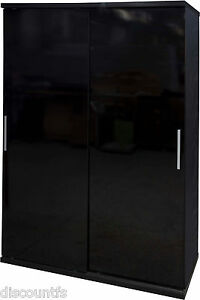 New High Gloss Black 2 or 3 Door Wardrobe, Sliding Wardrobe, Chest, Bedside Set
