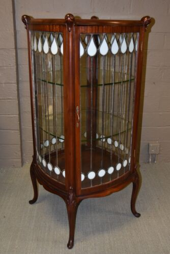 ANTIQUE LEADED GLASS 4 SIDED MAHOGANY CURIO CABINET CIRCA: 1900