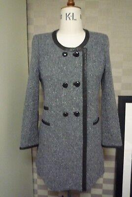 Isabel Marant Tweed Leather Trimming Long Jacket SZ 1 (38)