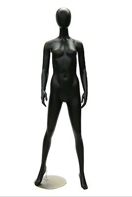 Full Body Adult Female Matte Black Egg Head Standing Fiberglass Mannequin