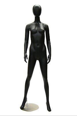 Full Body Adult Female Matte Black Egg Head Standing Fiberglass Mannequin