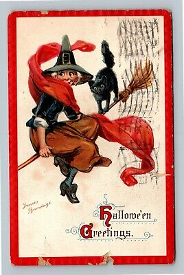 HALLOWEEN Vintage Frances Brundage Postcard Witch on Broom Black Cat Embossed