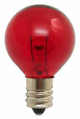 Red Bulb 10W, 120V, G9.5, Candelabra E12 Base, 10 Watt, 120 Volt 31mm dia, Decor