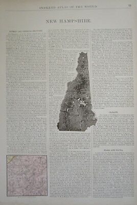 XL 1902 NEW HAMPSHIRE Wall Map 1900s NH RELIEF Map TOPOGRAPHIC WATERSHED Map. - $14.97